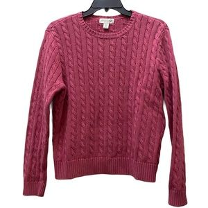 3/$20 Appleseed's cable knit crewneck pink sweater